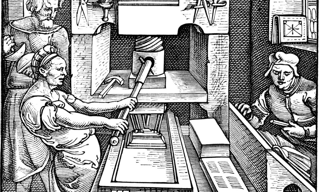 Engraving of a 1520 printing press