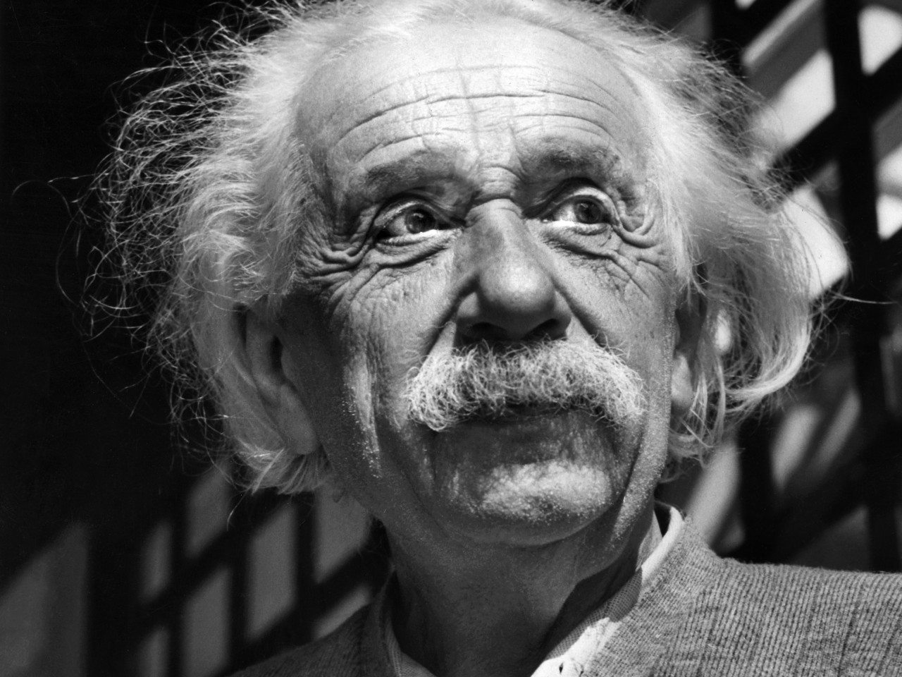 Black and white photo of Einstein