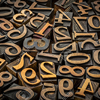 random number background - vintage letterpress wood type